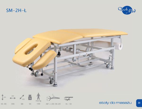 SM-2 H-Ł Łamany stół do masażu z hydrauliczną zmianą wysokością