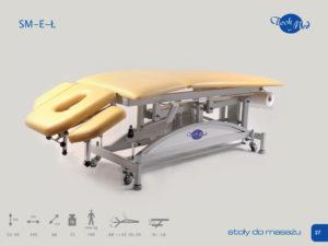 SM-E-Ł Łamany stół do masażu z elektryczną regulacją wysokością